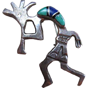 Sterling Silver Navajo Kokopelli Turquoise & Lapis Arnold Maloney signed Vintage Brooch Pin Pendant