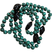 """Gorgeous Malachite, Onyx & 14k Gold Spacers Hand Knotted 31"""" Necklace"""