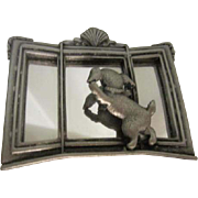Vintage Pewter finish Mirrored Dog Pin Signed ~ How Much Is That Doggie in the Window
