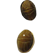 Tiger Eye Scarab 14K Gold Earrings for Pierced Ears