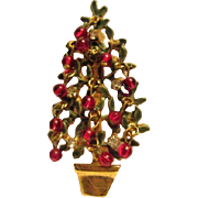 Original by Robert Enamel Christmas Tree with Red Dangling Glass Ornaments Pin
