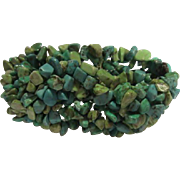 Natural Blue & Green Turquoise Wide Stretch Bracelet