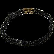 "Napier Vintage Dark Navy Blue Enamel Link 18"" Chain"