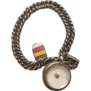 Vintage Mustard Seed Curb Linked Bracelet with Matthew 17:20 Amulet of Faith & Munster, Germany Shield Charm