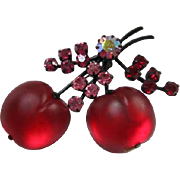 Vintage Iconic Satin Glass Cherries Fruit Pin Austria signed