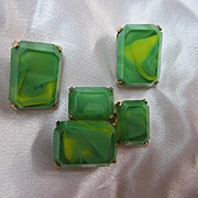 Rare Castlecliff Vintage Modernist Cubist Art Deco Green Glass Vintage Pin & Earrings Signed