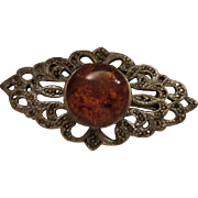 Gorgeous Amber Marcasite Sterling Silver Vintage Brooch Pin 925 signed