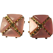 Charel Pink Moonglow Vintage Clip Earrings Signed