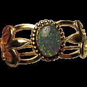 Stunning Fleur de lis fx Opal Vintage Clamper Bracelet