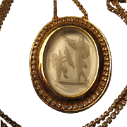 Rare Goldette Vintage Cupid & Venus Clear Glass Intaglio Reverse Carved Cameo Pendant on Quality Rhinestone Chain Statement Piece
