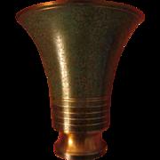 1920s Carl Sorenson Art Deco Trumpet Bronze Vase  Signed