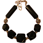 Vintage Natural Black Obsidian Stone & Sterling Silver 925 Bali Bracelet