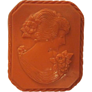 Fabulous Vintage Coral Celluloid Cameo Brooch/Pin