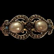 Gorgeous Vintage fx Mobe Pearl, fx Turquoise & fx Garnet Engraved Bangle Bracelet