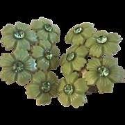Fab Vintage Lime Celluloid Rhinestone Flower Clip Earrings