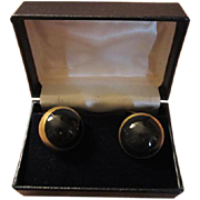 Vintage Royal Copenhagen Black Porcelain Sterling Silver Vermeil Cuff links Denmark Original Box