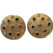 Wonderful Vintage Bezel Set Jeweled Gold tone Clip Earrings