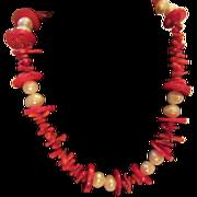 "Striking Genuine Coral & Pearl 22"" Necklace"