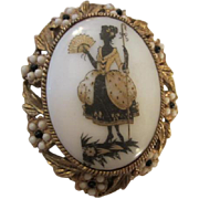 Lovely Lady Vintage Porcelain Pin with Black & White stone Oval Frame Pin/Pendant