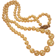 """Classic Vintage Genuine Cultured Pearls Graduated 18"""" Necklace 14K Gold Clasp"""