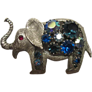 Fabulous Vintage Elephant Blue Aurora Borealis Stones Silver tone Trunk Up Red Crystal Eye Brooch/Pin