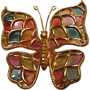 Gorgeous Vintage Plique a Jour Acrylic Butterfly Brooch/Pin