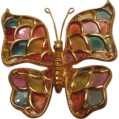 Gorgeous Vintage Plique a Jour Acrylic Butterfly Brooch/Pin from allhourtreas...