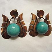 Fabulous Vintage Unique Copper & Ceramic Hand made Earrings