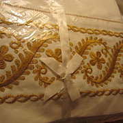 Vintage Pair Gold Embroidered Wamsutta Supercale No Iron Pillowcases NOS Original Packaging