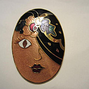 Fabulous Enamel Deco Stylized Woman Pin