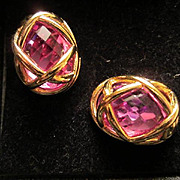 Vintage Signed Joan Rivers 10 Interchangeable Colored Stones Classic Collection Earrings