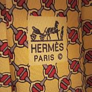 Authentic Vintage Hermes Paris Silk Classic Lattice Horse bit Vintage Excellent Men's Neck Tie Made in France