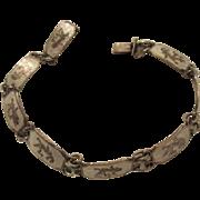 Lovely Vintage Sterling Silver White Enamel Siam Niello Bracelet