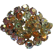 Fabulous Art Glass Hand Wired Multi Layer Aurora Borealis AB Brooch/Pin