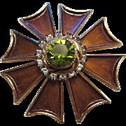 Signed HAR Stunning Regal Bronze Enamel Faceted Peridot Crystal Vintage Brooch Pin