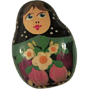Vintage Folk Art Hand painted Russian Doll Pin