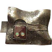 Vintage Modernist Sterling Silver Genuine Opals Hand Made Artistic Pin/Pendant