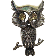 Vintage Sterling Silver Signed Beau Wise Owl Pin