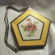 Gorgeous Art Deco Elgin Sterling Silver and Guilloche Enamel Compact Vanity Dance Purse