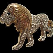 Gorgeous Lion Pave Set Crystal Emerald Glass Eye Brooch/Pin