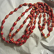 """Vintage Triple Strand Red Paper Hand Made Bead Necklace 24"""""""