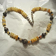 Egg Yolk  Amber & Black Onyx with Bali Beads & Sterling Silver Spacers Vintage Necklace
