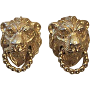 Vintage Mimi di N Signed Classic Lion Head Door Knocker Clip Earrings