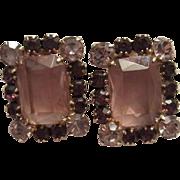D&E Juliana Statement Purple & Lavender Emerald Cut Glass Clip Earrings