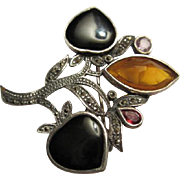 Stunning Vintage Sterling Silver Marcasite Gemstone Brooch/Pin