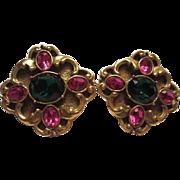 Gorgeous Design Fuchsia & Emerald Green Clip Earrings