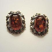 Wonderful Vintage Baltic Honey Amber Sterling Silver Clip Earrings 925
