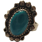 Wonderful Signed Sleeping Beauty Turquoise Native American Sterling Silver Ring Size 7
