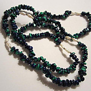 "Wonderful  Azurite & Freshwater Pearl 28"" Continuous Strand Necklace"