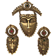 FANTASTIC Quality Face Mask Brooch & Earrings Signed Set